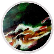 Dying Swan-abstract Round Beach Towel