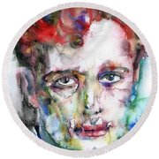 Dylan Thomas - Watercolor Portrait.5 Round Beach Towel