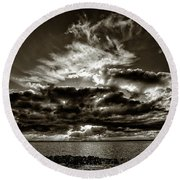 Dynamic Sunset - Sepia Round Beach Towel