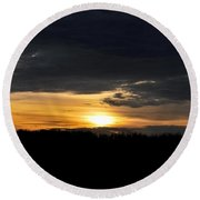 Dynamic Sunset Over Field Round Beach Towel