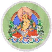 Dzambala The Buddha Of Wealth Round Beach Towel