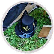 E Company Black Hat Round Beach Towel