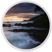 E Hamau O Makani Mai Auanei Aloha Paako Round Beach Towel