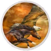 Eagle And Horse - Spirits Of The Wind Round Beach Towel