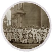 Eagle Band's Drum Corps. Native Sons Of The Golden West  Circa 1908 Round Beach Towel