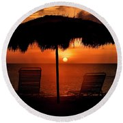 Eagle Beach Sunset Round Beach Towel