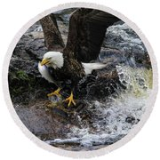 Eagle Catches Fish Round Beach Towel
