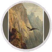 Eagle Circling Before A Cliff Face Round Beach Towel