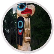 Eagle Clan Totem Pole Round Beach Towel