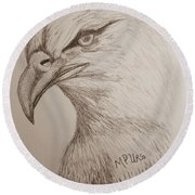 Eagle Drawing 1 Round Beach Towel