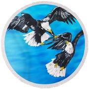 Eagle Fight Round Beach Towel