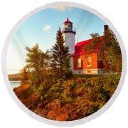 Eagle Harbor Lighthouse, Michigan Round Beach Towel