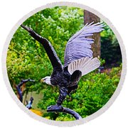 Eagle In The Garden Round Beach Towel
