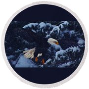 Eagle In The Storm Round Beach Towel