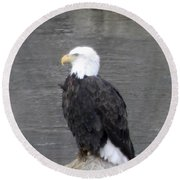 Eagle On The River Round Beach Towel