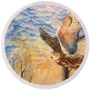 Eagle Owl Round Beach Towel