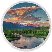 Eagle River Sunset  Round Beach Towel