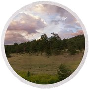 Eagle Rock Estes Park Colorado Round Beach Towel