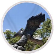 Eagle Statue  Round Beach Towel