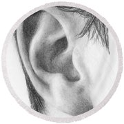 Ear Study Round Beach Towel