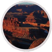 Early Morning Light Hits Dead Horse Point State Park Round Beach Towel
