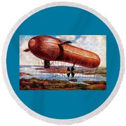 Early 1900s Military Airship Round Beach Towel