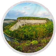 Early Autumn At Genesee River Canyon New York Round Beach Towel