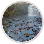 Early Autumn At Pixley Falls Round Beach Towel