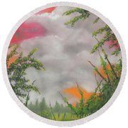 Early Autumn Moon Round Beach Towel