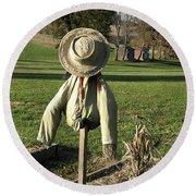 Early Autumn Scarecrow Round Beach Towel