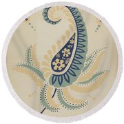 "Early Californian Skirt From The Portfolio ""decorative Art Of Spanish California"" Round Beach Towel"