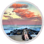 Early Evening At The Beach Round Beach Towel