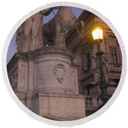 Early Evening In Rome Round Beach Towel
