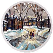 Original Montreal Paintings For Sale Winter Walk After The Snowfall Exceptional Canadian Art Spandau Round Beach Towel