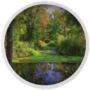 Early Fall At Montauk State Park  Round Beach Towel
