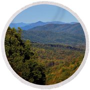 Early Fall In Virginia Round Beach Towel