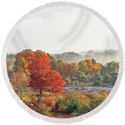 Early Fall Morning Round Beach Towel