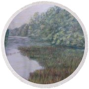 Early Fall Serenity Round Beach Towel