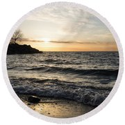 Early Lakeside - Waves Sand And Sunshine Round Beach Towel