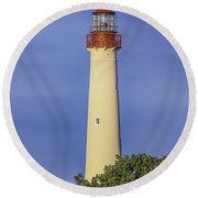 Early Light At Cape May Lighthouse Round Beach Towel