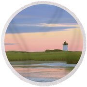 Early Light At Wood End Light Round Beach Towel
