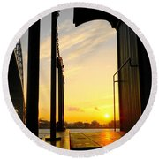 Early Morning At Edison Depot Round Beach Towel