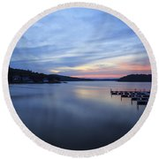 Early Morning At Lake Of The Ozarks Round Beach Towel