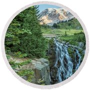 Early Morning At Myrtle Falls Round Beach Towel