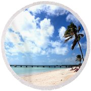 Early Morning At The Beach Round Beach Towel
