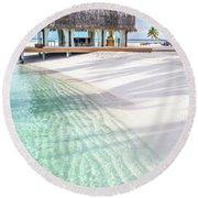 Early Morning At The Maldivian Resort 1 Round Beach Towel