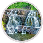 Early Morning At The Upper Falls Round Beach Towel