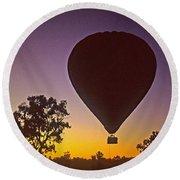 Early Morning Balloon Ride Round Beach Towel