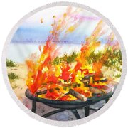 Early Morning Beach Bonfire Round Beach Towel