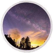 Early Morning Colorful Colorado Milky Way View Round Beach Towel